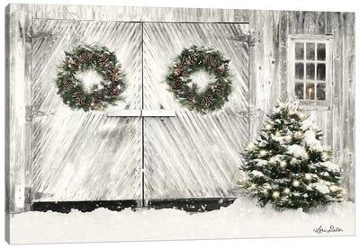 Christmas Barn Doors Canvas Art Print
