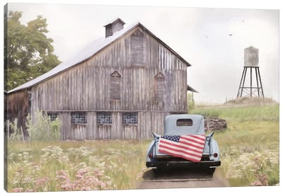 Flag on Tailgate Canvas Art Print