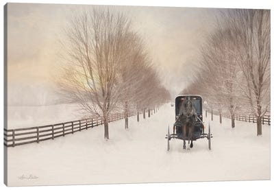 Snowy Amish Lane Canvas Art Print