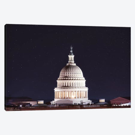 US Capital at Night 3-Piece Canvas #LOD205} by Lori Deiter Art Print