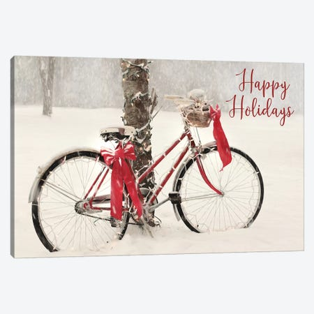 Happy Holidays Snowy Bike  Canvas Print #LOD218} by Lori Deiter Canvas Art Print