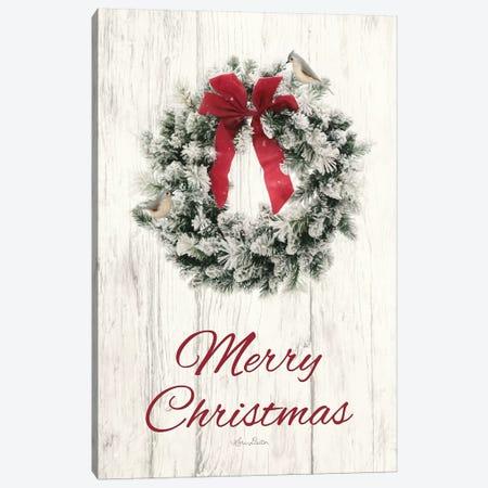 Titmouse Christmas Wreath Canvas Print #LOD229} by Lori Deiter Canvas Artwork