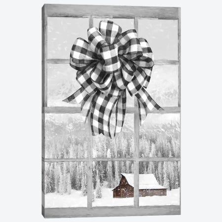 Christmas Barn With Bow Canvas Print #LOD233} by Lori Deiter Canvas Print