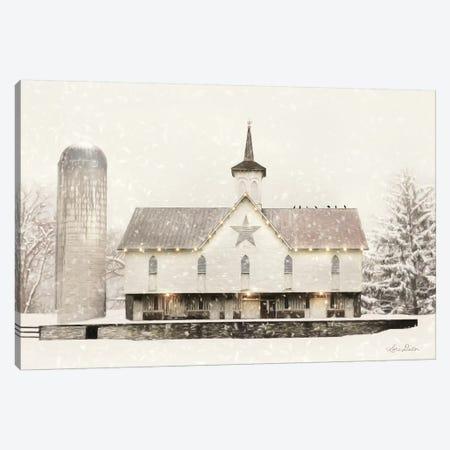 Christmas Star Barn With Lights Canvas Print #LOD236} by Lori Deiter Canvas Wall Art