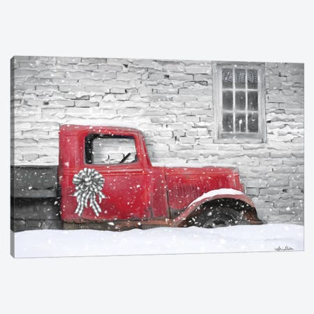 Christmas Truck With Plaid Bow Canvas Print #LOD238} by Lori Deiter Canvas Print