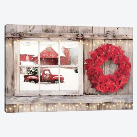 Poinsettia Wreath Window View Canvas Print #LOD258} by Lori Deiter Art Print