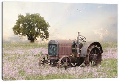 Tractor At Sunset Canvas Art Print