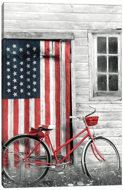 Patriotic Bicycle Canvas Art Print