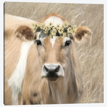 Floral Cow I Canvas Print #LOD338} by Lori Deiter Canvas Artwork