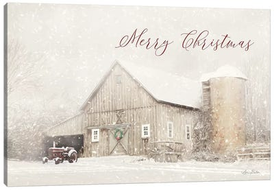 Merry Christmas Farm Canvas Art Print