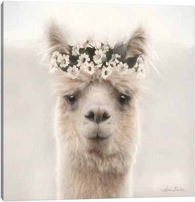 Alpaca with Flowers Canvas Art Print