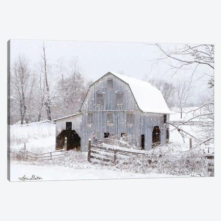 Blue Tinted Barn Canvas Print #LOD79} by Lori Deiter Art Print
