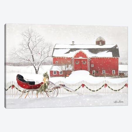 Christmas Barn with Sleigh Canvas Print #LOD82} by Lori Deiter Canvas Artwork