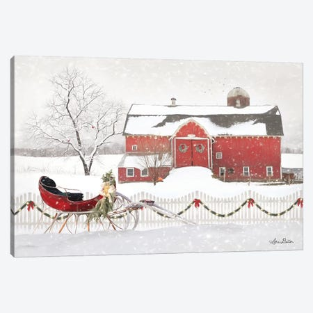 Christmas Barn with Sleigh Canvas Print #LOD82} by Lori Deiter Canvas Artwork