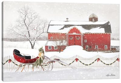 Christmas Barn with Sleigh Canvas Art Print