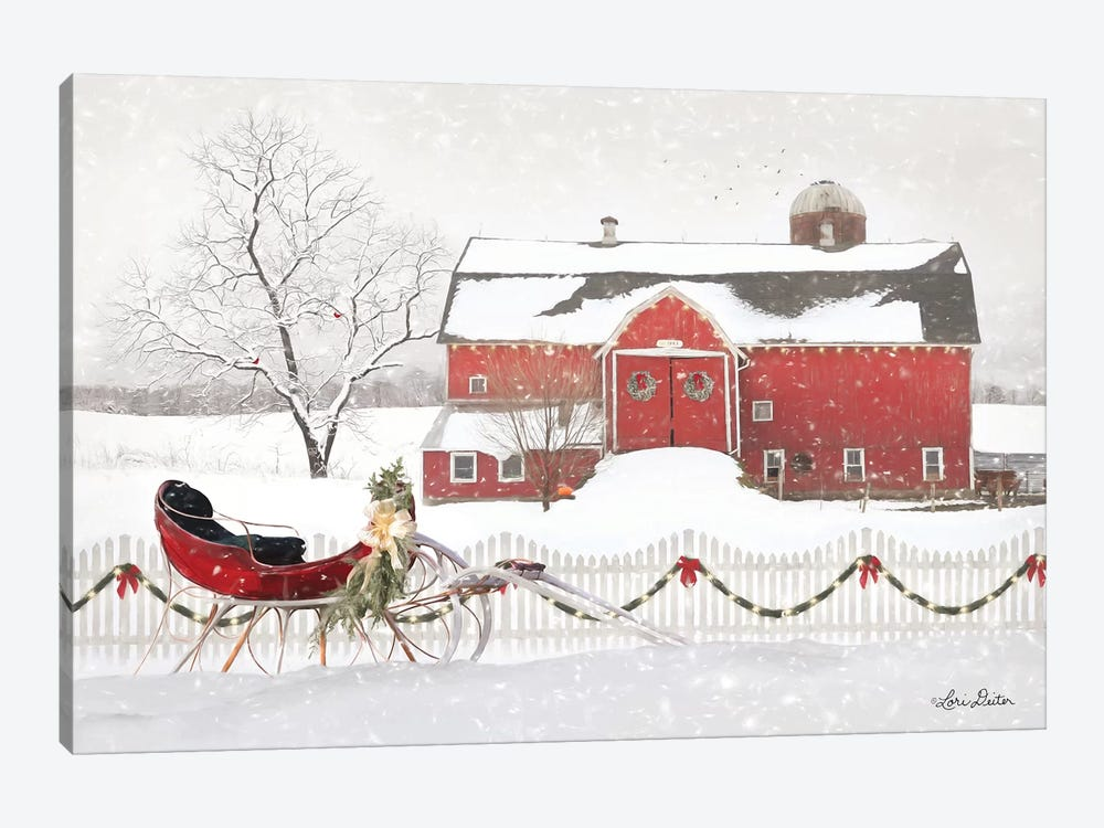 Christmas Barn with Sleigh by Lori Deiter 1-piece Canvas Artwork