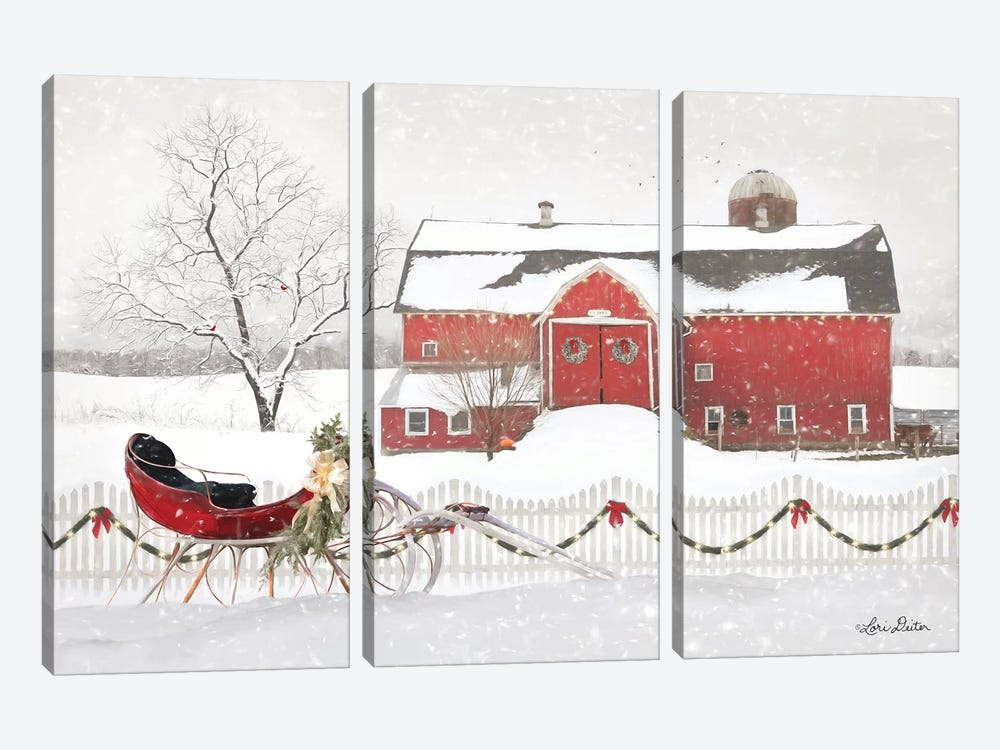 Christmas Barn with Sleigh by Lori Deiter 3-piece Canvas Art