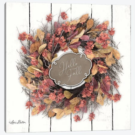 Hello Fall Wreath Canvas Print #LOD92} by Lori Deiter Canvas Art Print