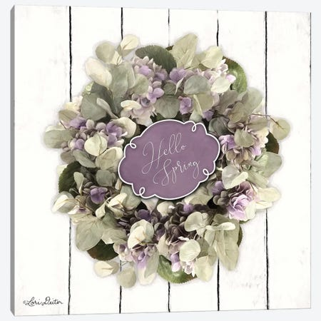 Hello Spring Wreath Canvas Print #LOD93} by Lori Deiter Canvas Print