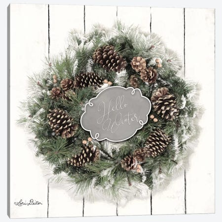 Hello Winter Wreath Canvas Print #LOD95} by Lori Deiter Canvas Wall Art