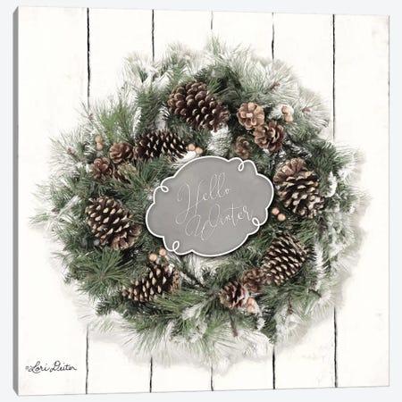 Hello Winter Wreath Canvas Print #LOD95} by Lori Deiter Canvas Wall Art