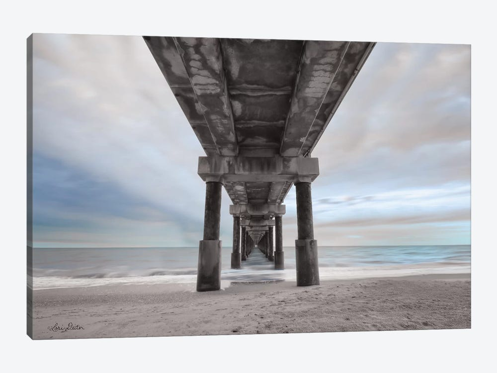 Beneath the Outer Banks Beach Pier    by Lori Deiter 1-piece Canvas Art Print