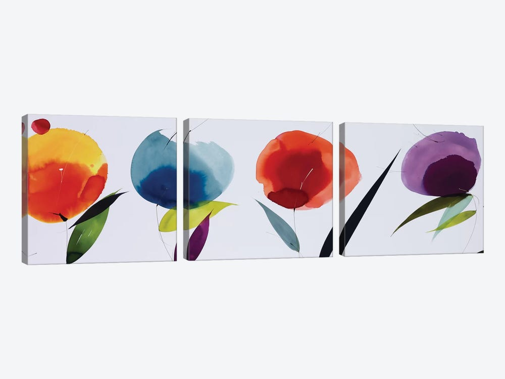 Rainbow Bloom by Lola Abellan 3-piece Canvas Artwork