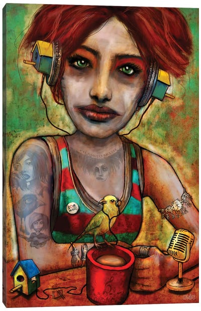 Bird House Girl Canvas Art Print