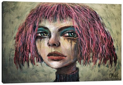 The Girl With The Pink Hair Canvas Art Print