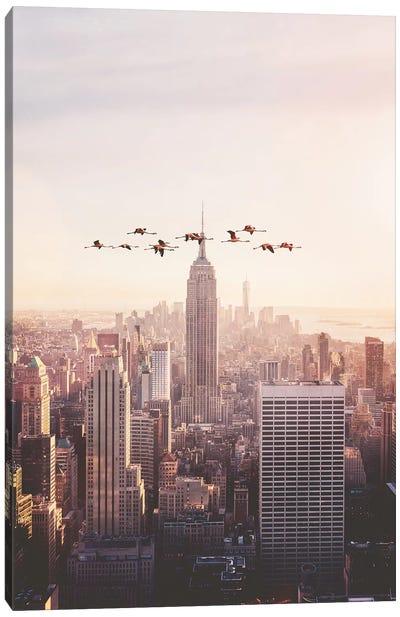 Flamingos In New York Canvas Art Print