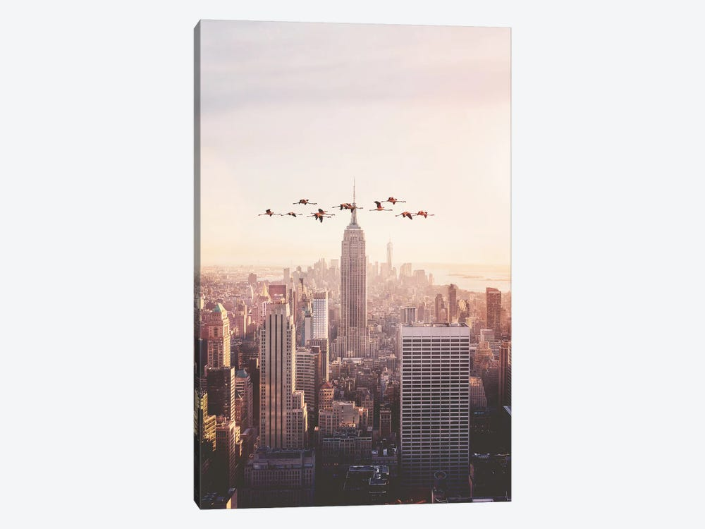 Flamingos In New York by Jonas Loose 1-piece Canvas Wall Art
