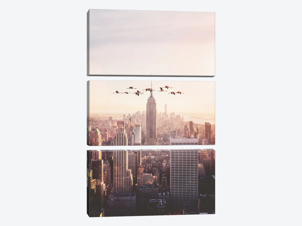 Flamingos In New York by Jonas Loose 3-piece Canvas Artwork