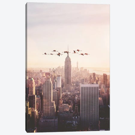 Flamingos In New York Canvas Print #LOO14} by Jonas Loose Canvas Print