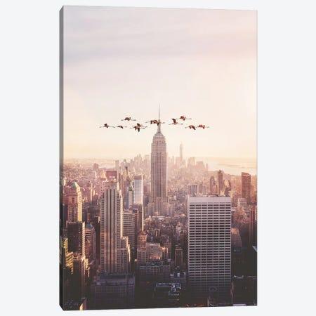 Flamingos In New York Canvas Print #LOO14} by Jonas Loose Canvas Print