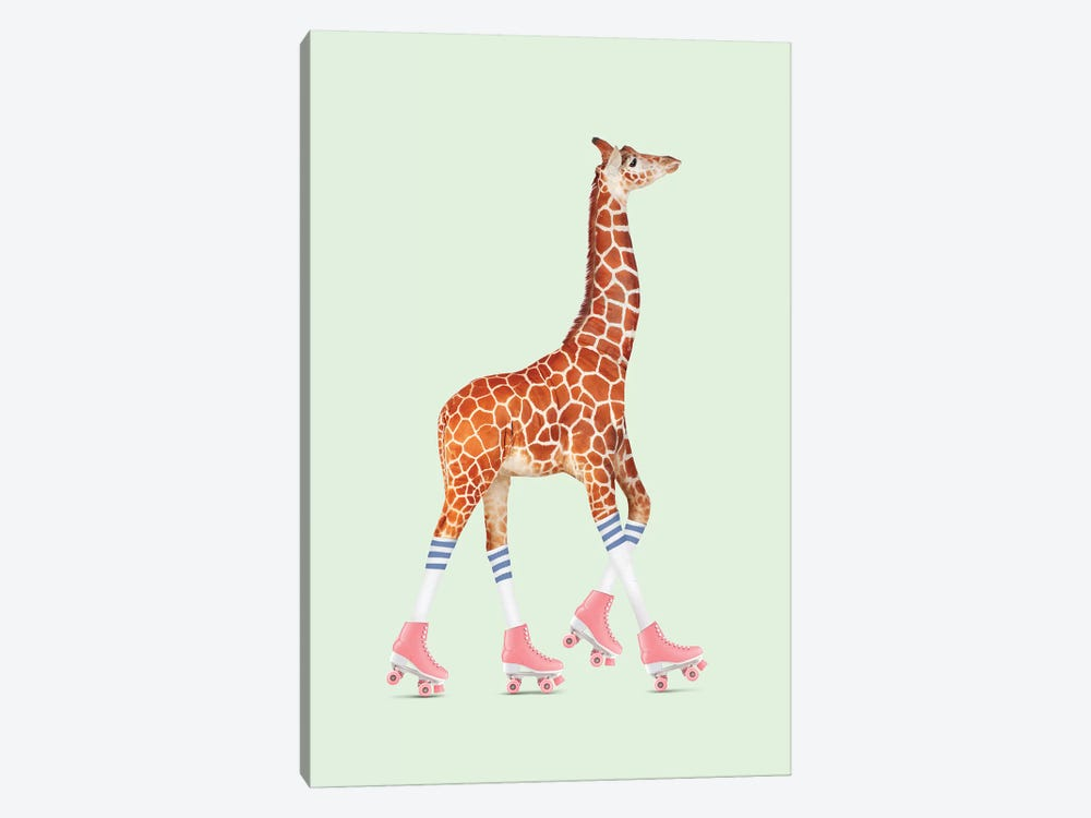 Rollerskating Giraffe by Jonas Loose 1-piece Canvas Art Print
