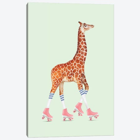 Rollerskating Giraffe Canvas Print #LOO42} by Jonas Loose Canvas Print