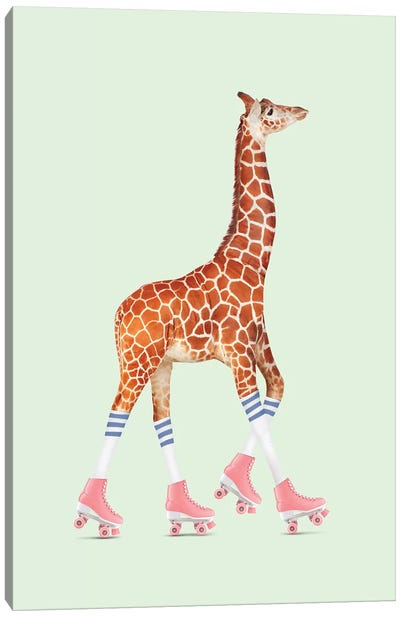 Rollerskating Giraffe Canvas Art Print