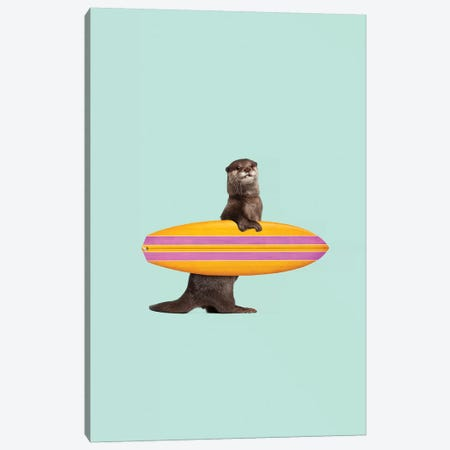 Surfing Otter Canvas Print #LOO46} by Jonas Loose Canvas Artwork