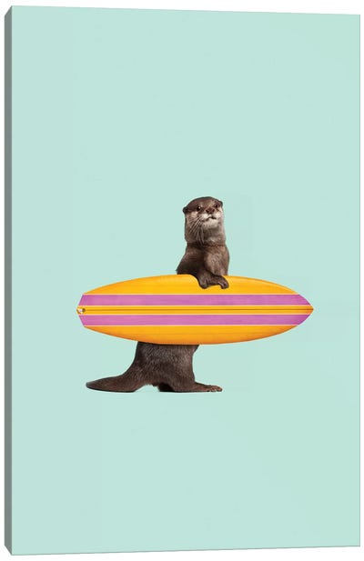 Surfing Otter Canvas Art Print