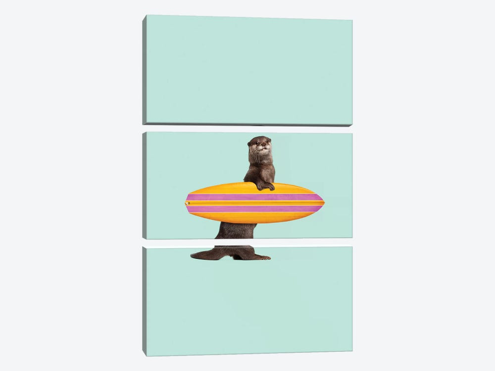Surfing Otter by Jonas Loose 3-piece Canvas Art Print