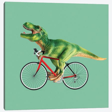 T-Rex Bike Canvas Print #LOO49} by Jonas Loose Art Print
