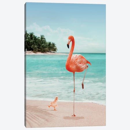 Wannabe Flamingo Canvas Print #LOO50} by Jonas Loose Canvas Artwork