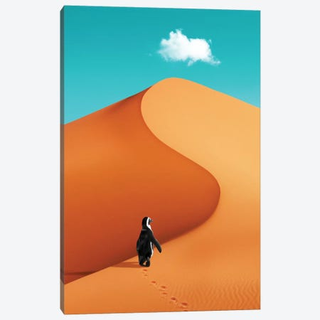Penguin On Vacation Canvas Print #LOO74} by Jonas Loose Art Print
