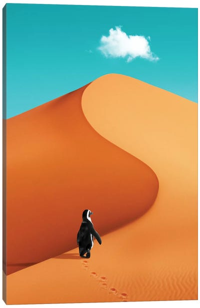 Penguin On Vacation Canvas Art Print