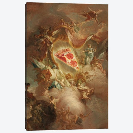 The Holy Pizza Canvas Print #LOO86} by Jonas Loose Canvas Artwork