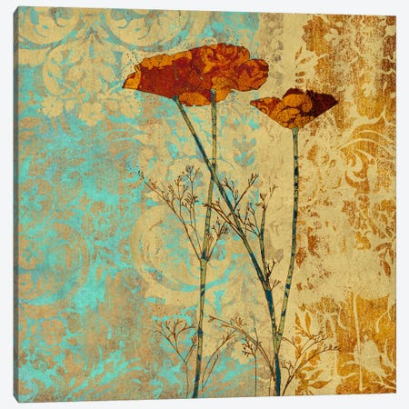 Poppies And Damask II Canvas Print #LOU10} by Louise Montillio Canvas Art
