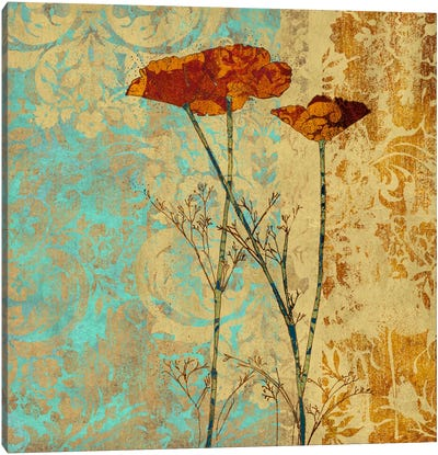 Poppies And Damask II Canvas Art Print