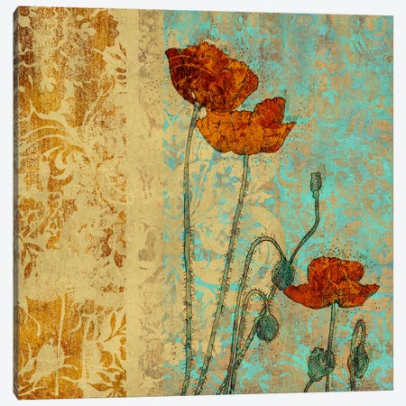Poppies And Damask I Canvas Print #LOU9} by Louise Montillio Canvas Wall Art