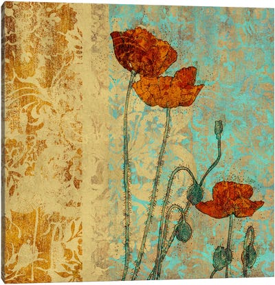 Poppies And Damask I Canvas Art Print