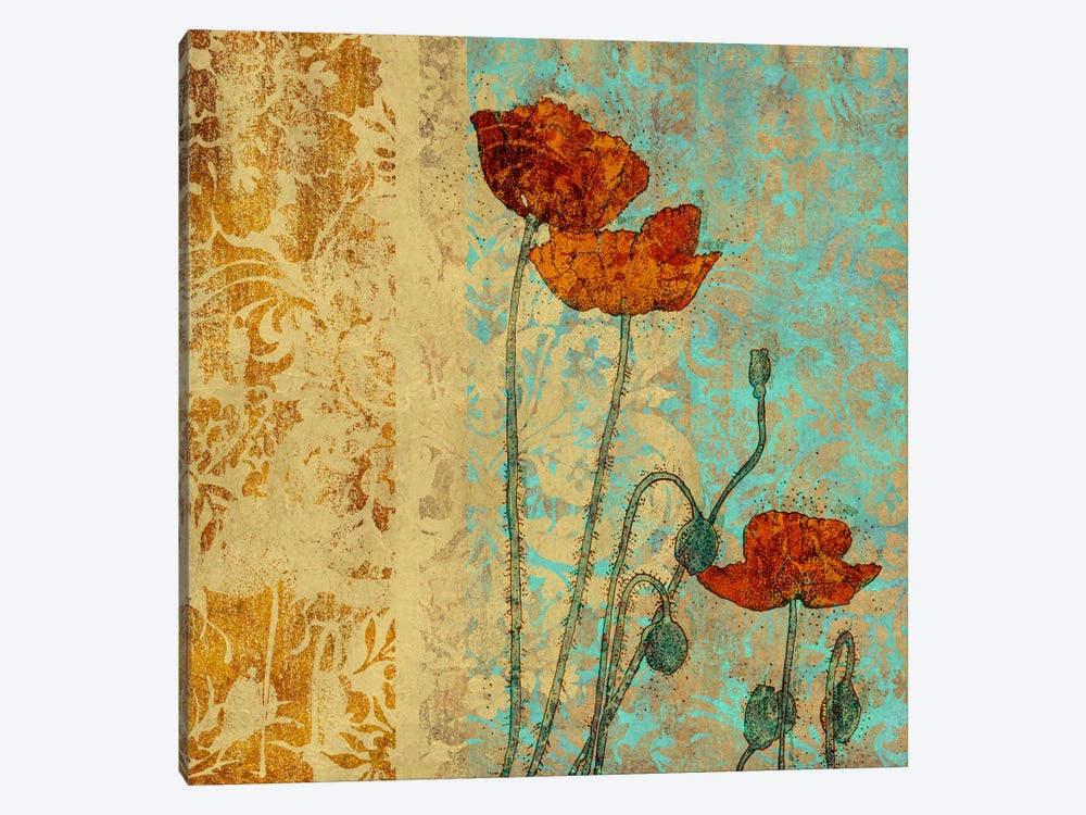Poppies And Damask I by Louise Montillio 1-piece Canvas Art